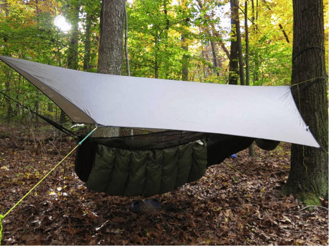 camping hammock with tarp and under quilt insulation