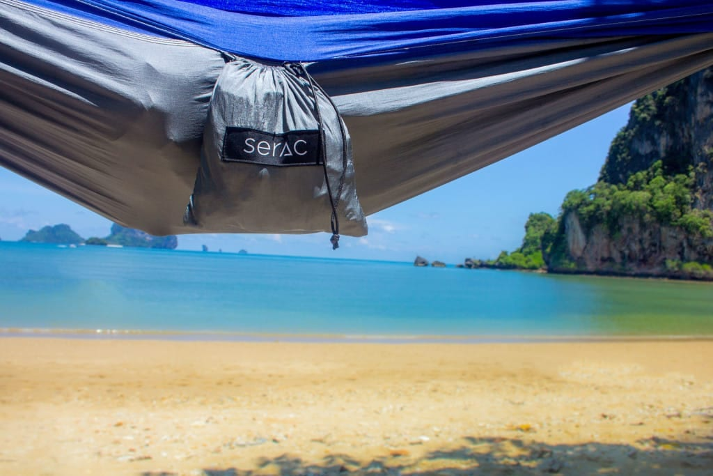 serac ultralight hammock with stuff sack. much lighter and more compact than a tent