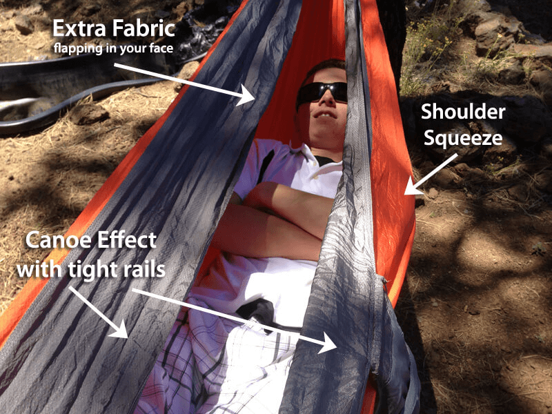 Improper camping hammock set up. Photo originally posted by Derek Hansen of theultimatehang.com