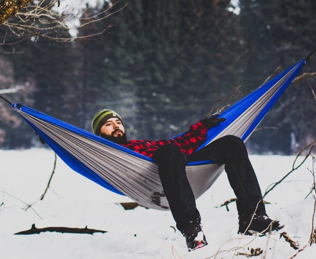 winter hammocking camping in the cold - 4 Clever Tricks To Stay Cozy While Hammock Camping Without An