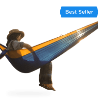 serac sequoia xl double camping hammock daybreak blue and orange color