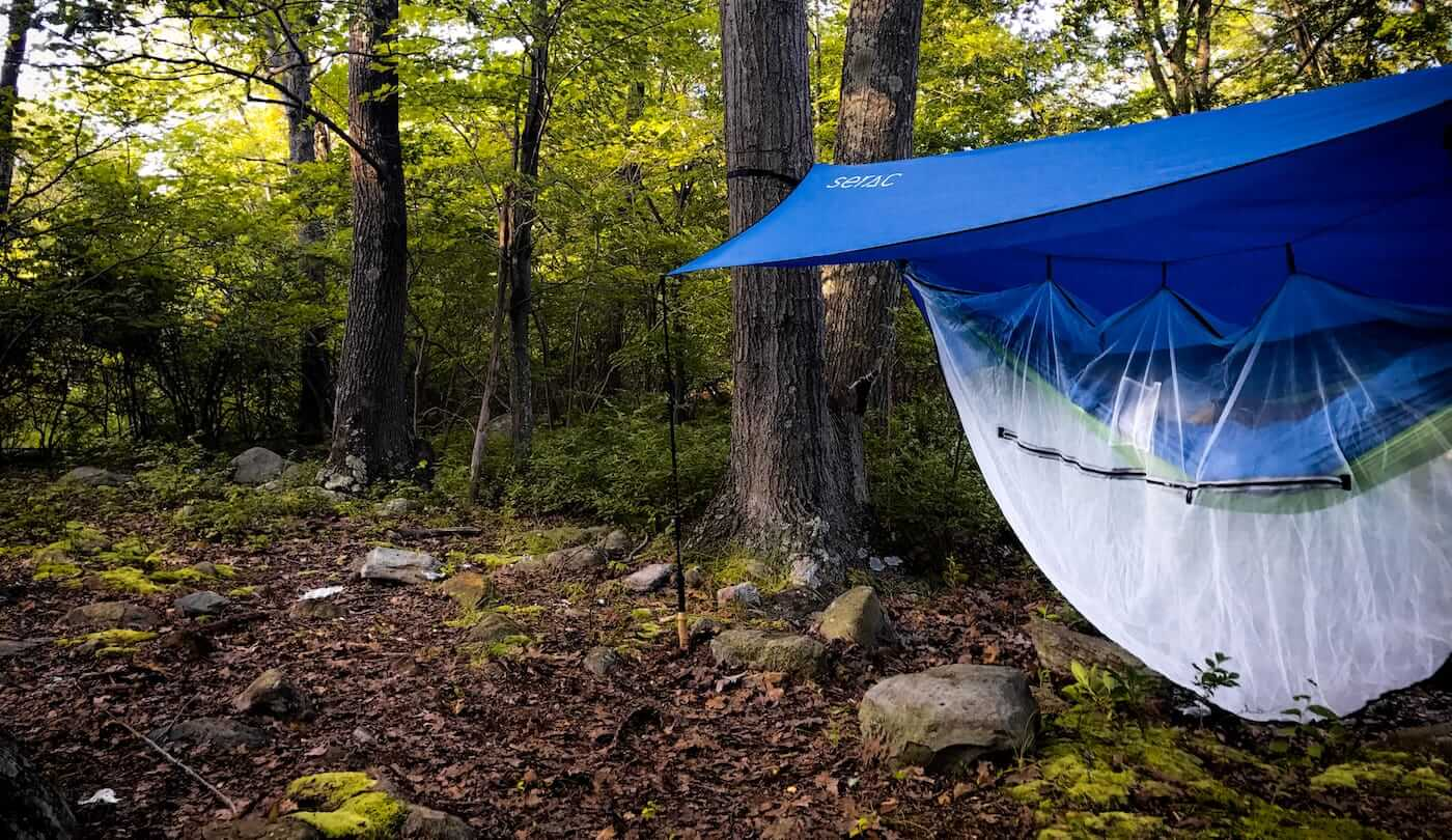 Hammocking in a serac classic portable ultralight single camping hammock with rain fly tarp and bug mosquito net